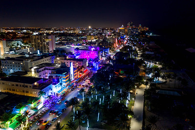 Ocean Drive colorful neon lights aerial view
