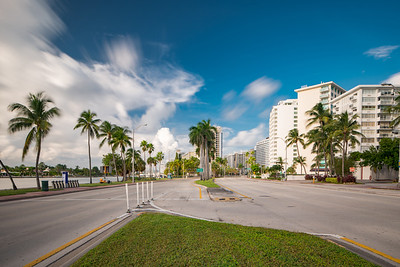 Miami beach view from Collins Avenue 54th Street Facing north
