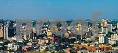 Aerial panorama San Antonio Texas Downtown