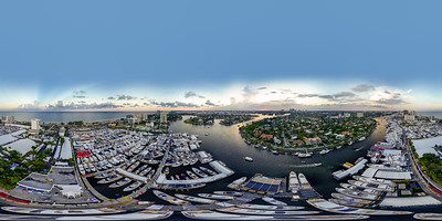 Aerial spherical equirectangular 360 drone panorama of the Fort Lauderdale International Boat Show