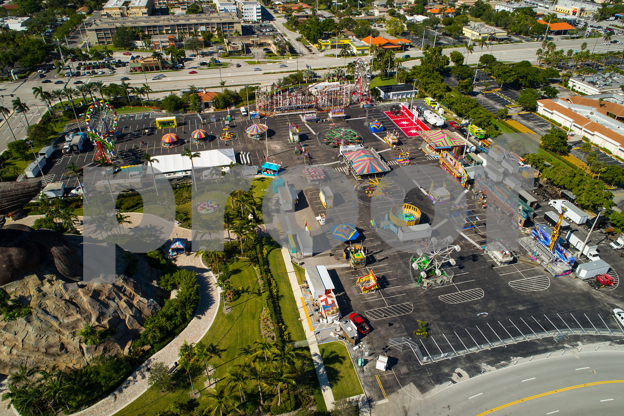 Aerial image of the Broward County youth Fair in Hallandale FL