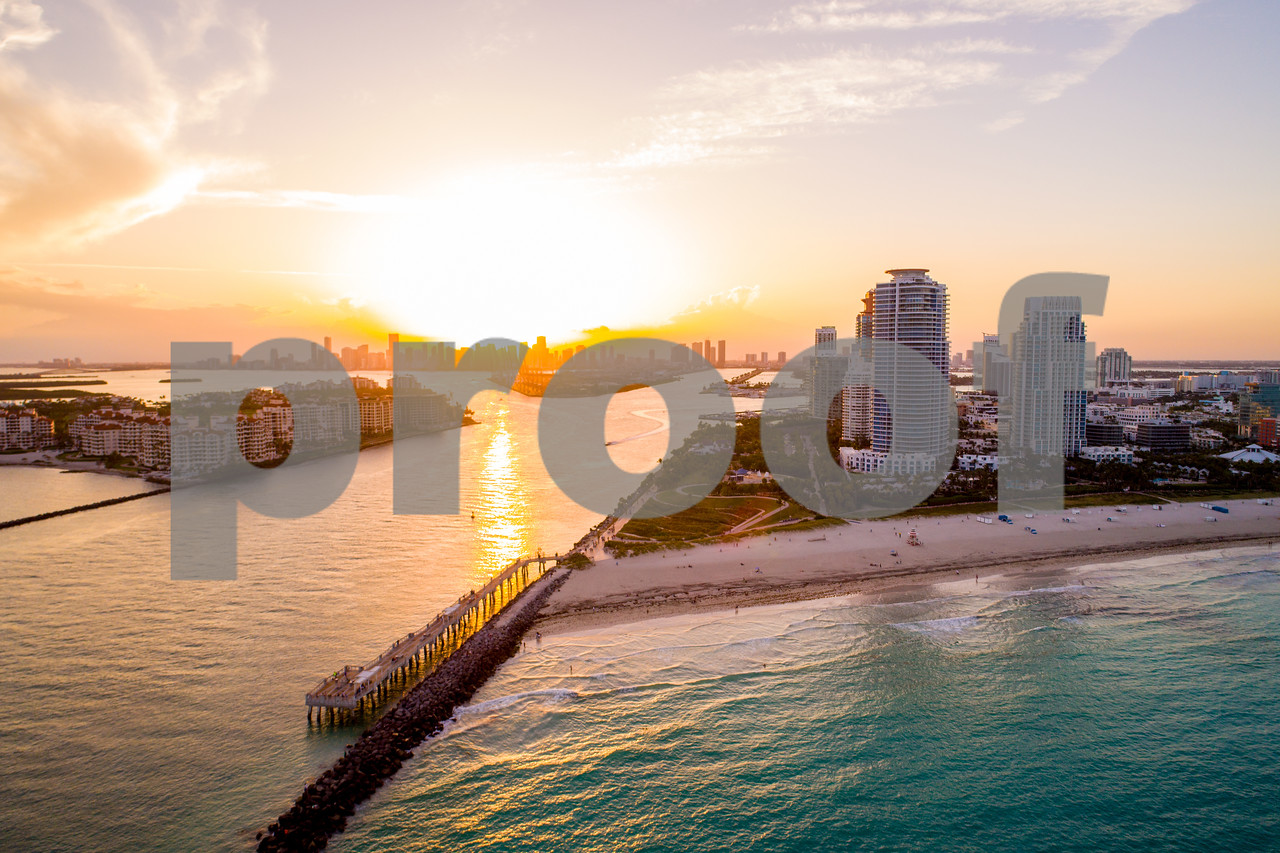 Miami sunsets aerial image South Pointe and inlet