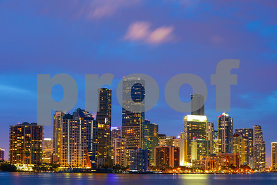 Brickell Miami city at twilight long exposure