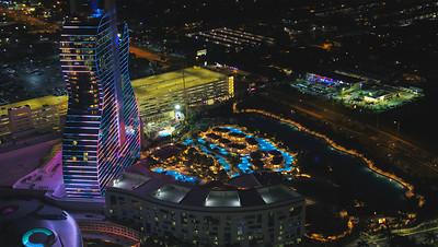 Aerial night drone photo Hollywood Seminole Hotel and Casino