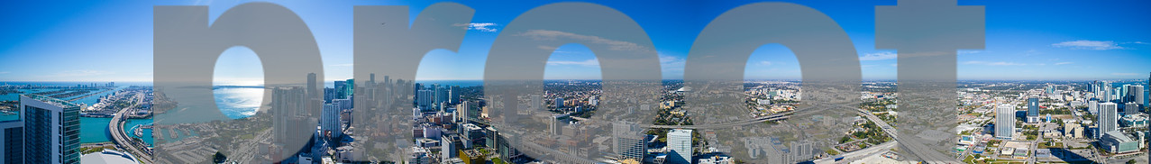 Aerial panorama Downtown Miami logos removed