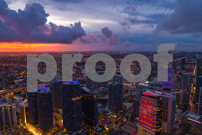 Aerial image beautiful city lights Miami Brickell