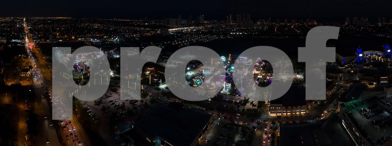 Carnival at night aerial image