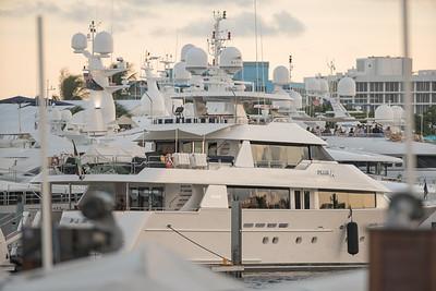 Telephoto shot of the Fort Lauderdale FLorida international boat show