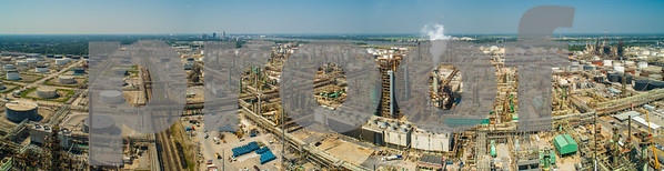 Aerial industrial oil processing plant panorama