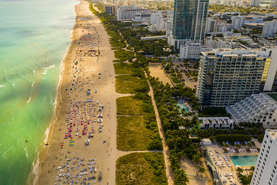 Aerial image Miami Beach beachfront resorts