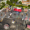 Aerial shot of the Broward County Fair carnival roller coaster