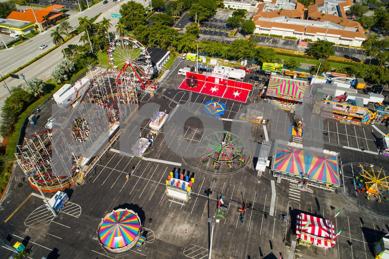 Aerial shot of the Broward County Fair carnival roller coaster