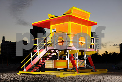 Miami Beach lifeguard tower lit with flash