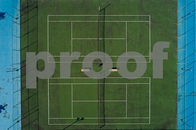 Aerial overhead shot of a tennis court