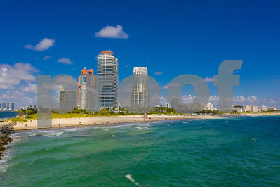 Aerial Miami Beach Florida highrise beachfront condominiums