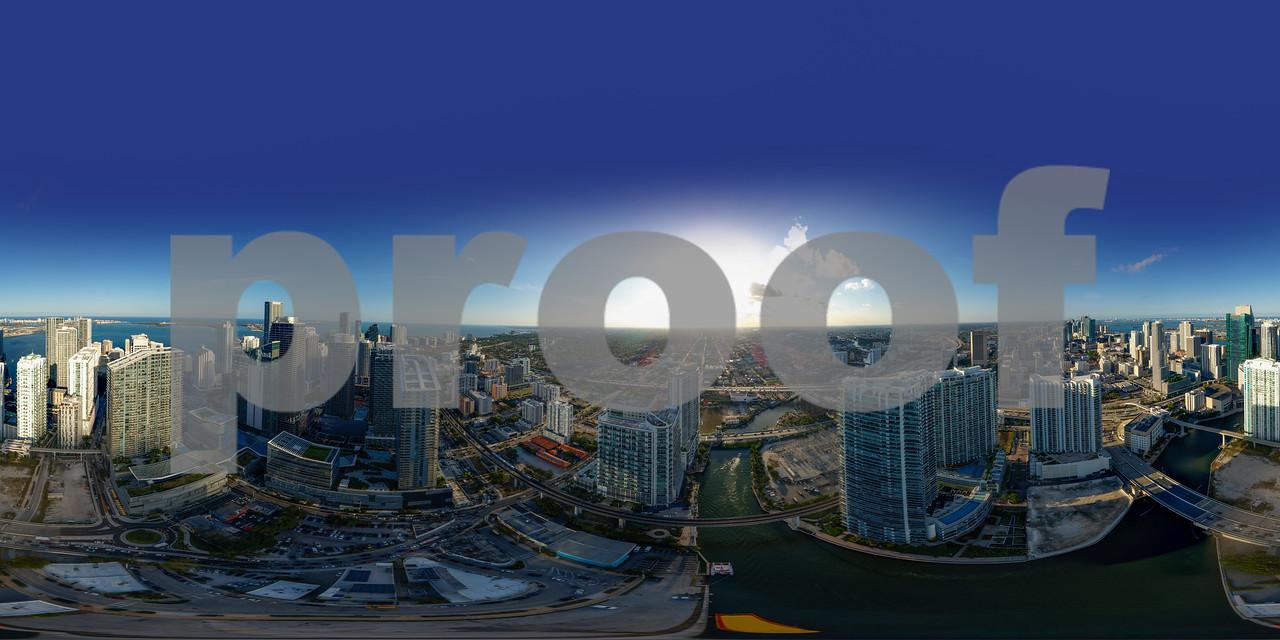 Aerial spherical 360 panorama Brickell Miami River cityscape