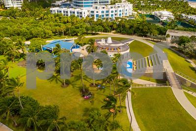 Drone image Miami Beach Florida South Pointe Park