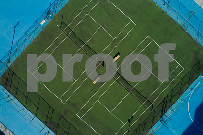 Aerial image of an ampty tennis court