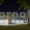 Night image of public restrooms Miami Beach Ocean Drive