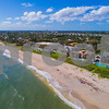 Aerial drone photo luxury mansions on the beach