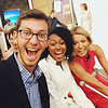 Kevin Schatell and Shakori Fletcher pose with Kelly Ripa at Live with Kelly and Michael.