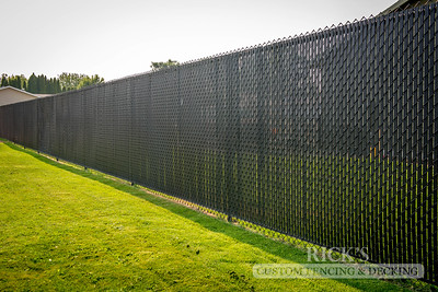 Black Chain Link Fencing with Black Slats