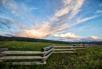 Fences: Sunset Storm Over Grand Teton Mountains