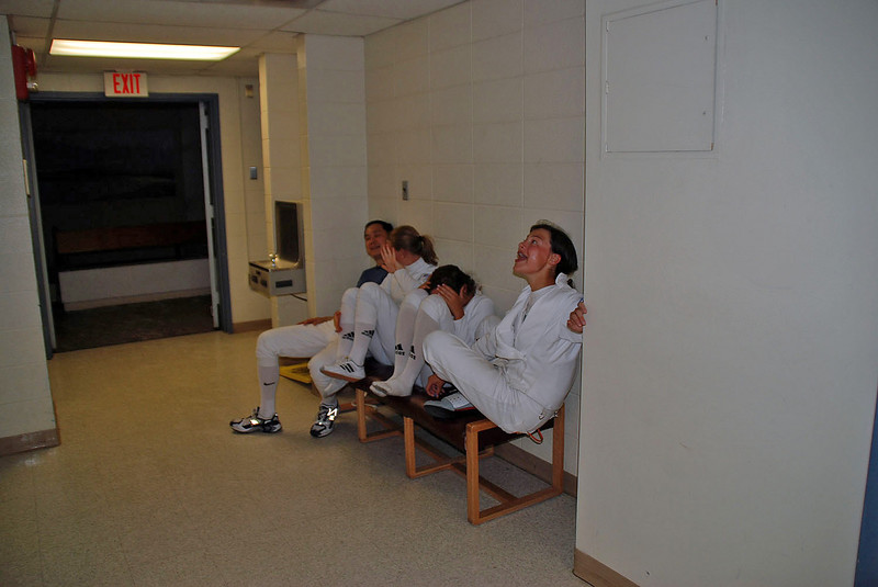 Relaxing in hallway