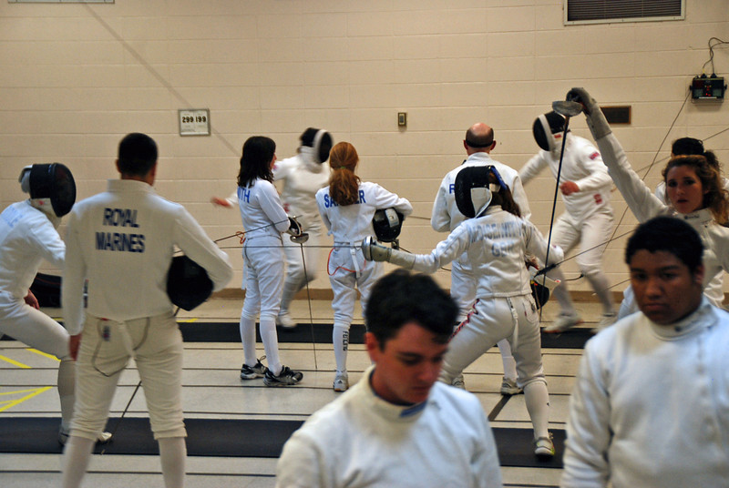 The British Royal Marines competing in epee at the Chevy Chase Fencing Club.