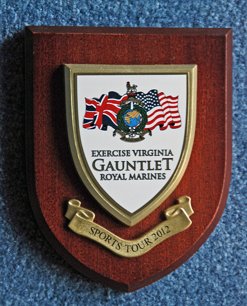 The commemoration plaque awarded to Chevy Chase Fencing Club by the Royal Marines.