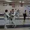 The Royal Marines competing in foil at the Chevy Chase Fencing Club.