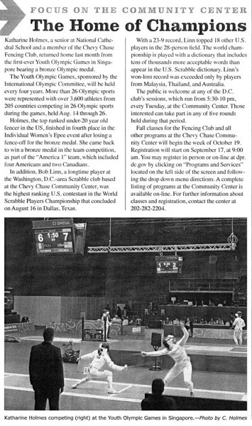 Article in the September 2010 issue of the Chevy Chase Citizens News.