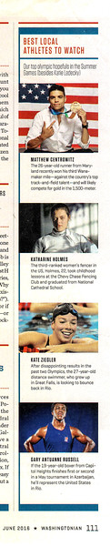 Katharine Holmes featured as Olympic athlete to watch by Washingtonian Magazine, June 2016