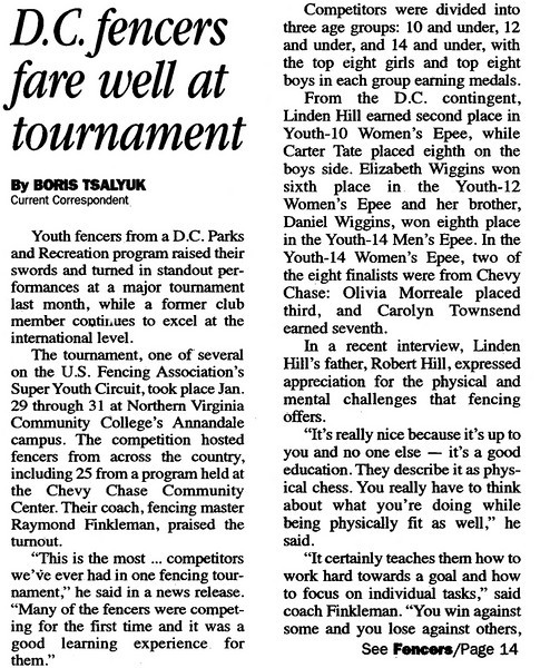 Article published in the Northwest Current on Wednesday, February 17, 2010.  This is page 1.