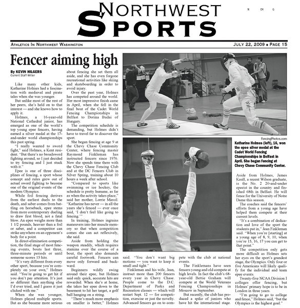 Article in The Northwest Current, July 22, 2009.