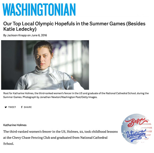 June 2016 Washingtonian Magazine - Our Top Local Olympic Hopefuls in the Summer Games