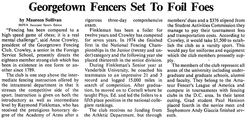 The Hoya, Georgetown University Newspaper,  February 9, 1979.