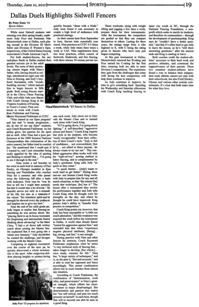 """Article in """"Horizon"""", the student newspaper of Sidwell Friends School, June 10, 2010."""