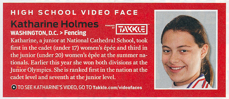 """This article was published in the August 3, 2009 issue of Sports Illustrated magazine in the """"Faces in the Crowd"""" section (page 30).  See her page on <A HREF=""""http://www.takkle.com/people/7451991/-/profile"""" target=""""_blank"""">Takkle.com</A>."""