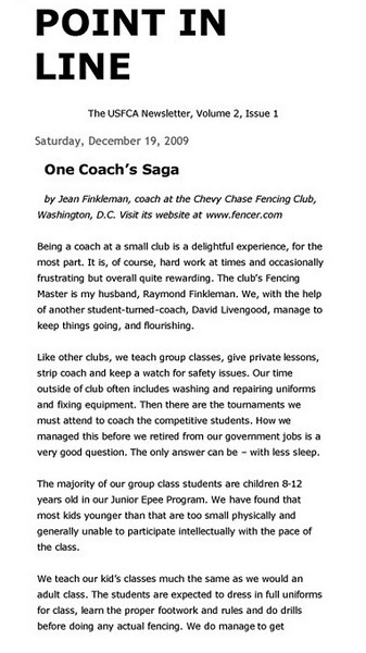 Article published in Point-In-Line, a newsletter of the US Fencing Coaches Association, December 15, 2009.  Page 1 of 5