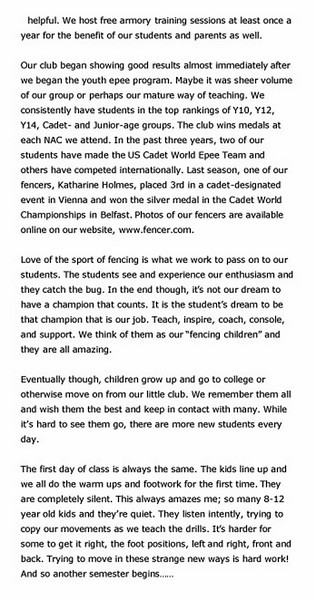 Article published in Point-In-Line, a newsletter of the US Fencing Coaches Association, December 15, 2009.  Page 4 of 5