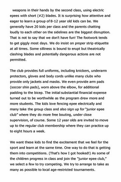 Article published in Point-In-Line, a newsletter of the US Fencing Coaches Association, December 15, 2009.  Page 2 of 5