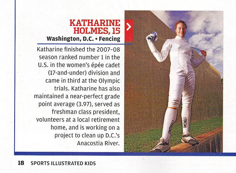 Sports Illustrated for Kids Magazine, December 2008.  Katharine Holmes finished in the top four of the 2008 SportsKid of the Year Contest.