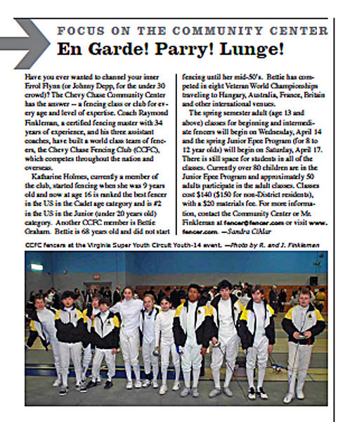 Article in the Chevy Chase Citizen's Association Newsletter, April 2010.