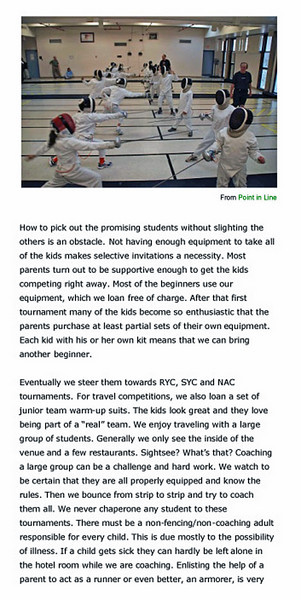 Article published in Point-In-Line, a newsletter of the US Fencing Coaches Association, December 15, 2009.  Page 3 of 5