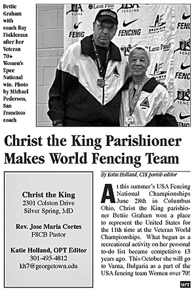 A article about Bettie Graham in Our Parish Times, August 2013.