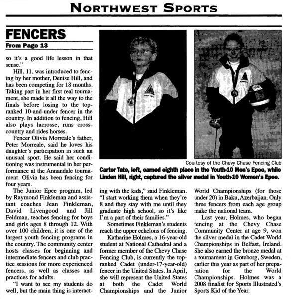 Article published in the Northwest Current on Wednesday, February 17, 2010.  This is page 2.  Katharine Holmes is a current member of Chevy Chase Fencing Club.