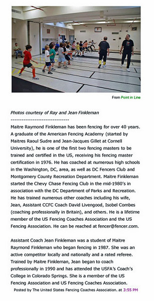 Article published in Point-In-Line, a newsletter of the US Fencing Coaches Association, December 15, 2009.  Page 5 of 5