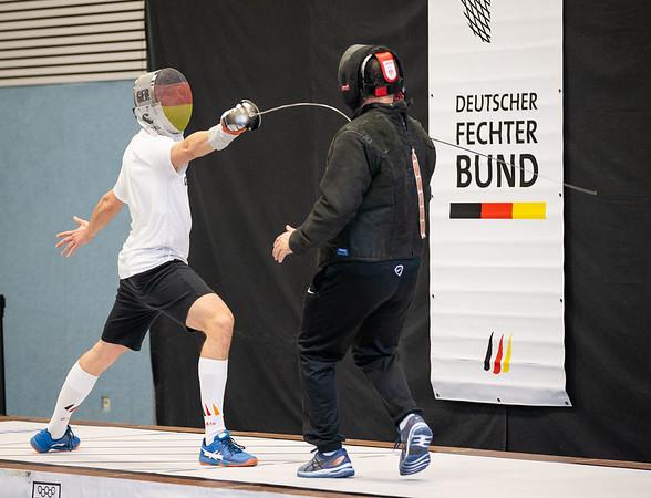 """Bonn, Deutschland - February 20, 2021; Das neue Turnierformat """"German Masters Herrensäbel"""" findet zum ersten Mal in der Olympiastützpunkt Bonn statt.  Photo by: Jan von Uxkull-Gyllenband"""