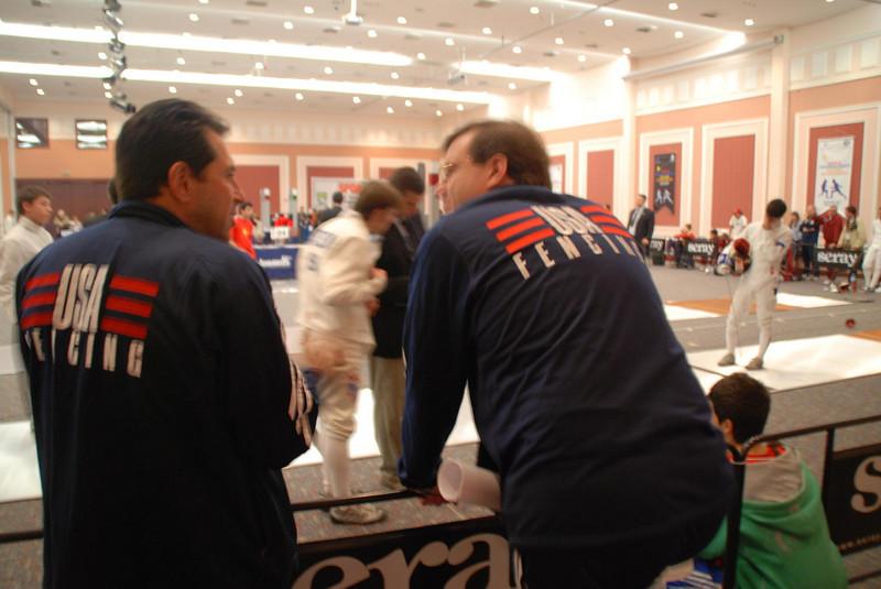 Boris Vaksman (left), US Men's Epee National Coach, confers with team captain Jim Carpenter.